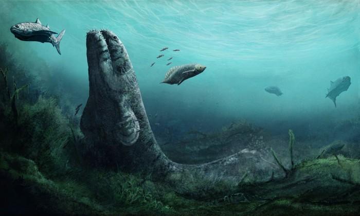 Impresión del artista del ambiente subacuático de un pantano de hace 355 millones de años