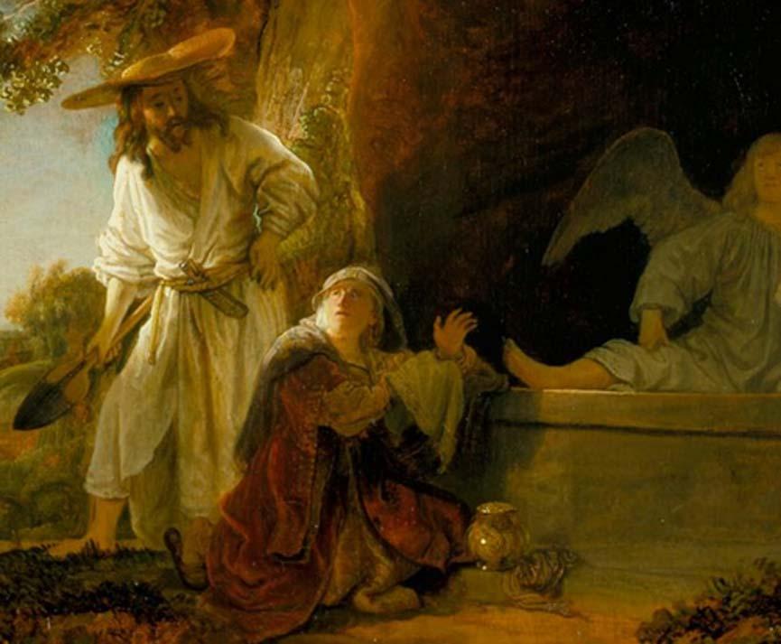 Cristo resucitado y María Magdalena ante el sepulcro en un óleo de Rembrandt. Junto a la Magdalena podemos ver su famoso frasco de alabastro.