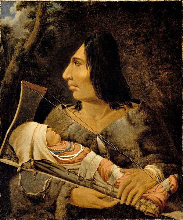 Óleo de Paul Kane (1810-1871) en el que podemos observar a un niño de la cultura Chinook durante el proceso de aplanar su cabeza y a una mujer adulta tras haber sufrido dicho proceso. Museo de Bellas Artes de Montreal, Canadá.