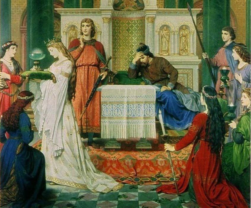 'Perceval y la doncella del Grial', obra del pintor alemán del siglo XIX Ferdinand Piloty.