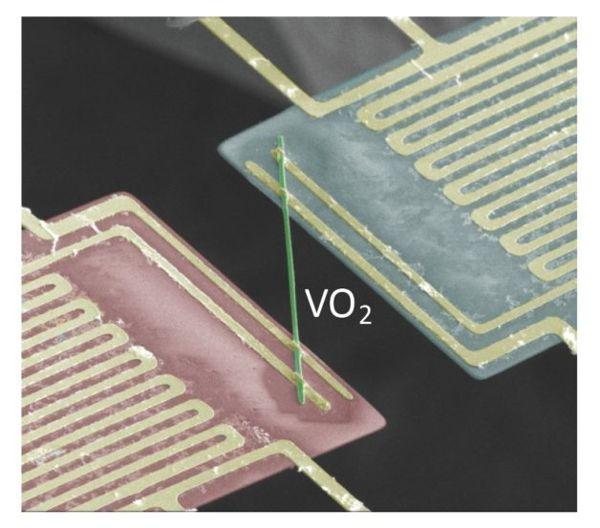 El nanómetro de dióxido de vanadio (VO2), sintetizado por investigadores de Berkeley, muestra propiedades eléctricas y térmicas exóticas.