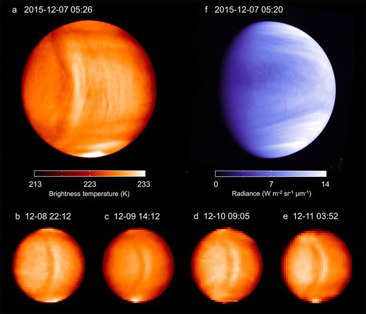 El gráfico muestra la temperatura de brillo y el brillo UV de Venus, capturado por la sonda Akatsuki.