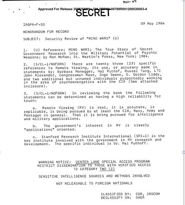 Documento desclasificado de la CIA. Fecha: 9 de mayo 1984.