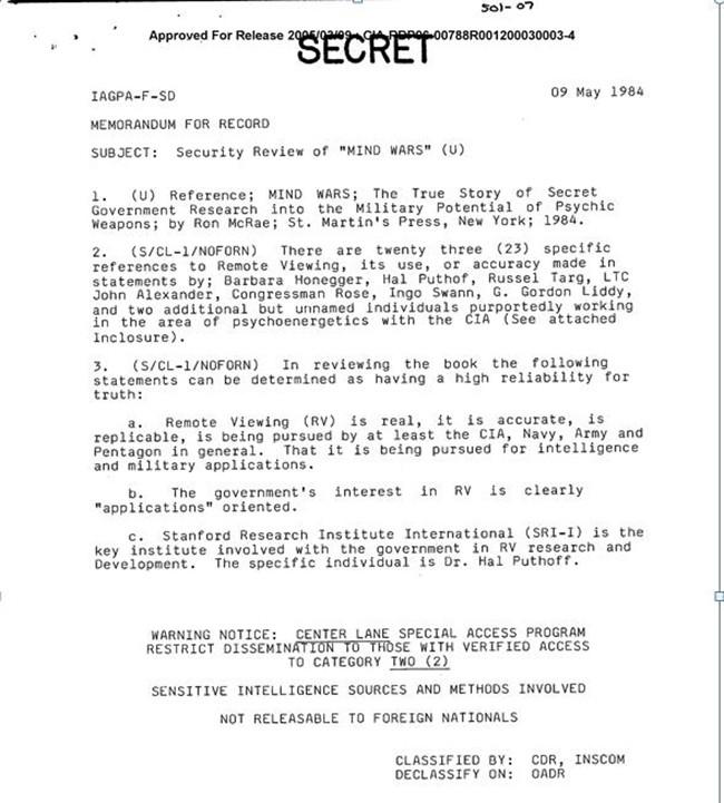 Documento desclasificado de la CIA. Fecha: 9 de mayo 1984.