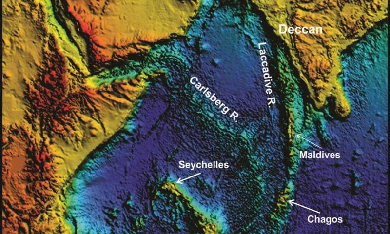 Topografía del océano Índico que muestra la ubicación de Mauricio como parte de una cadena de volcanes más antiguos.