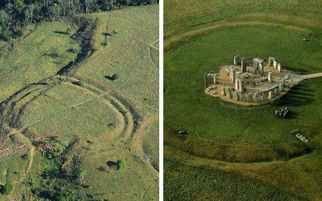 A la izquierda los geoglifos de la Amazonía en Brasil y a la derecha Stonehenge
