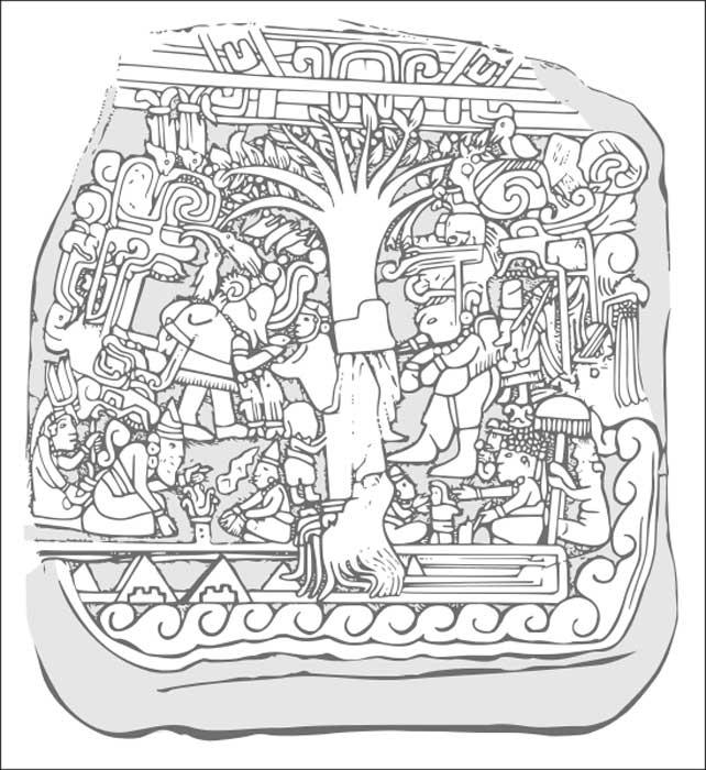 Dibujo del relieve de la Estela 5 de Izapa.