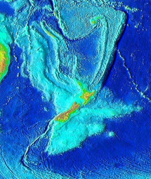 opografía de Zealandia. Las líneas que se marcan al norte, al noreste y al suroeste, lejos de Nueva Zelanda, no son consideradas parte del continente. Tampoco Australia, Fiji ni Vanuatu.