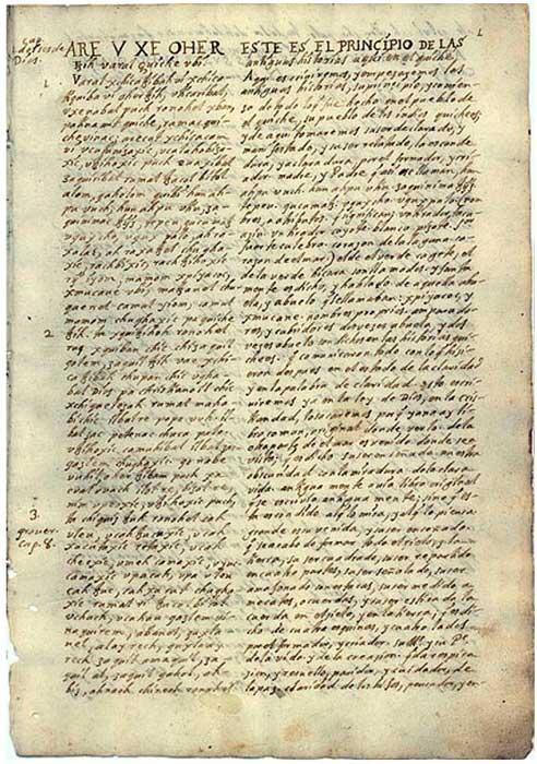Traducción del Popol Vuh realizada en el siglo XVIII.