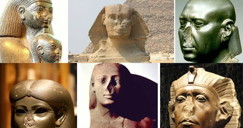¿Por qué hay tantas estatuas egipcias sin nariz?
