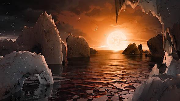 Esta concepción artística nos permite imaginar como sería pararse en la superficie del exoplaneta TRAPPIST-1F, que se encuentra en el sistema TRAPPIST-1 en la constelación de Acuario.