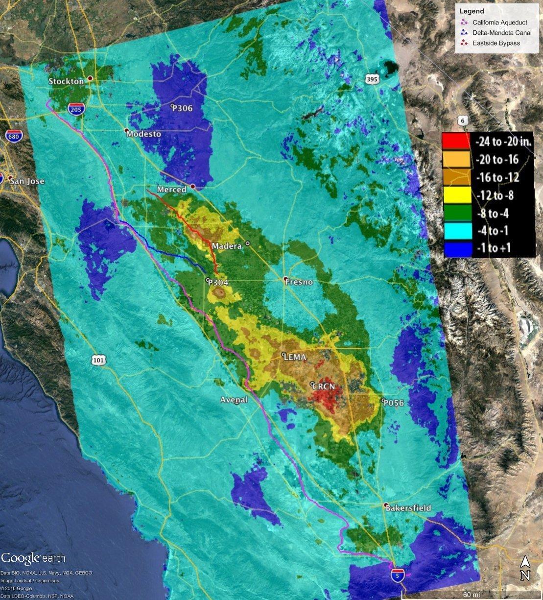 Hundimiento total en el valle de San Joaquín en California.