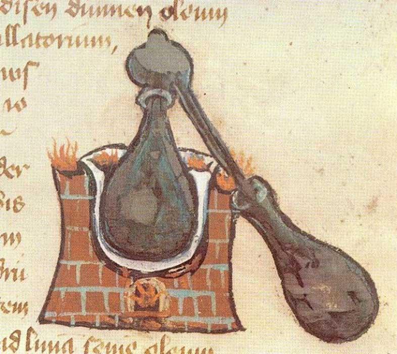 Alambique: ilustración de un manuscrito medieval.
