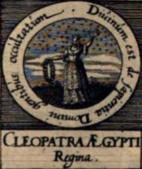 Imaginativa ilustración de Cleopatra la Alquimista en los «Sellos de los Filósofos» de la obra de Johann Daniel Mylius «Basilica philosophica» (1618).