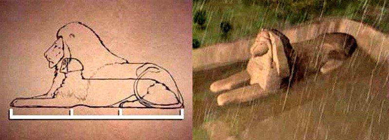 La esfinge como colosal estatua de un león
