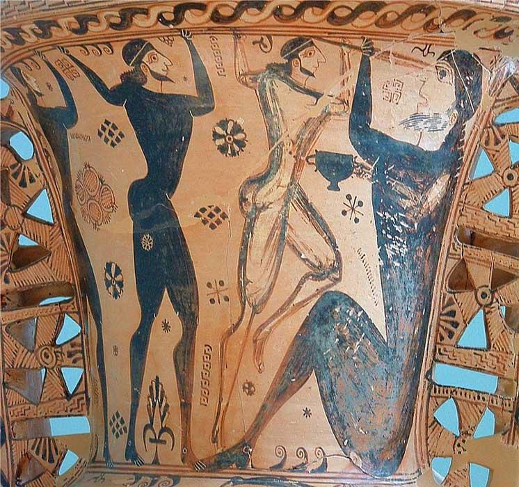 Odiseo y su tripulación ciegan al más famoso de los cíclopes, Polifemo. Detalle de un ánfora proto-ática datada en torno al año 650 a. C. Museo Arqueológico de Eleusis.