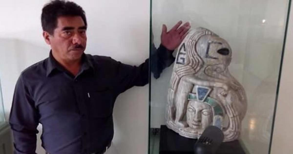 Encuentran pieza arqueológica maya de figura «alienígena» en Xiutetelco