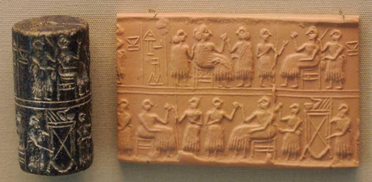 """Sello cilíndrico de la """"Señora"""" o """"Reina"""" (NIN en sumerio) Puabi, c. 2600 a. C. Escena de banquete típica del Período Dinástico Arcaico."""