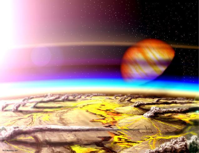 Concepto de un planeta en la zona habitable del hidrógeno volcánico.