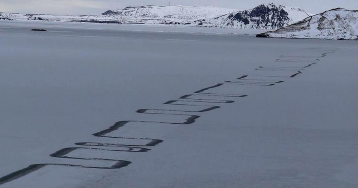 Misteriosos patrones en Zig-Zag aparecen en un lago congelado de Islandia