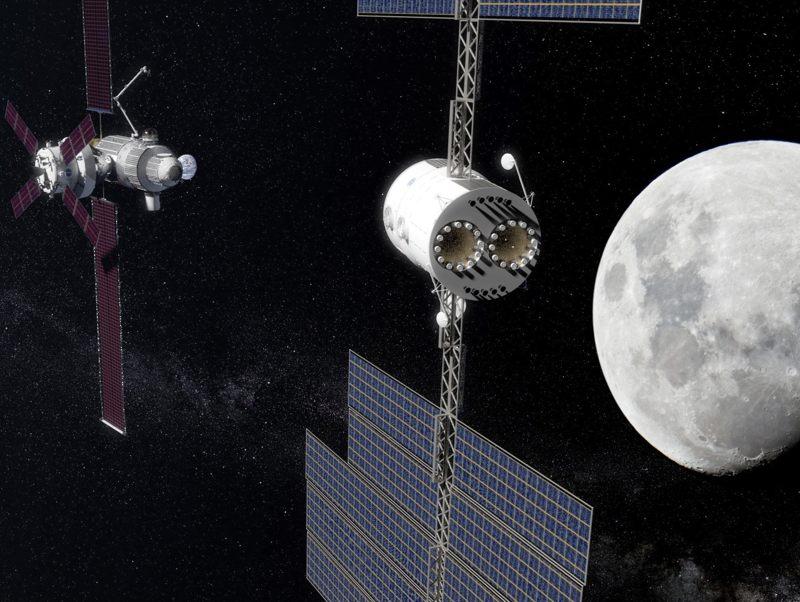 Representación artística del Deep Space Transport spaceship (DST)