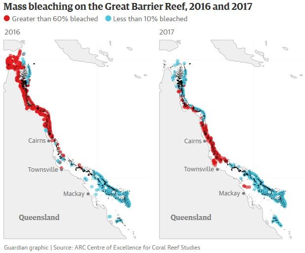 Este gráfico muestra los blanqueamientos en masa ocurridos en 2016 y 2017.