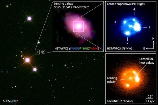 Imágenes de la supernova, vista tras la «galaxia lente».