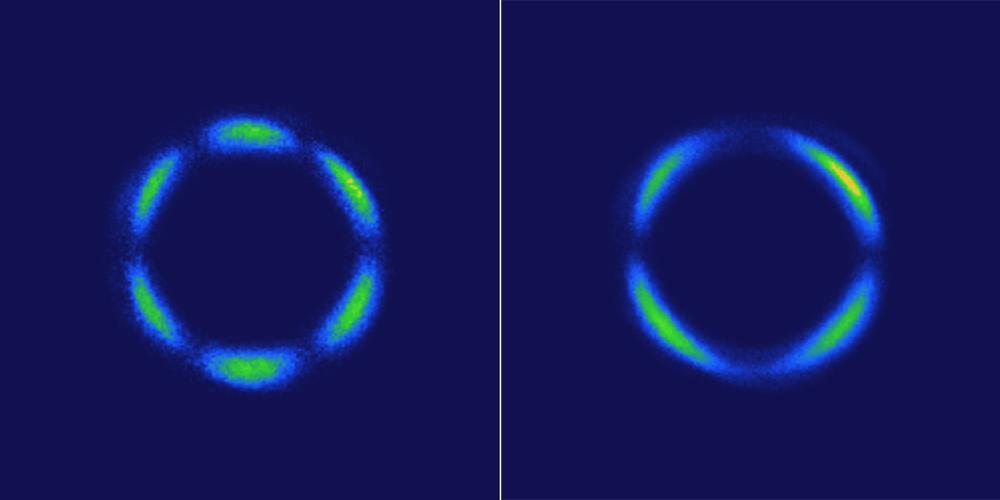Estas imágenes muestran patrones de luz generados por un cristal a base de renio utilizando un método láser llamado optical second-harmonic rotational anisotropy. A la izquierda, el patrón proviene de la red atómica del cristal. A la derecha, el cristal se ha convertido en un cristal líquido cuántico 3-D, que muestra un cambio drástico del patrón.
