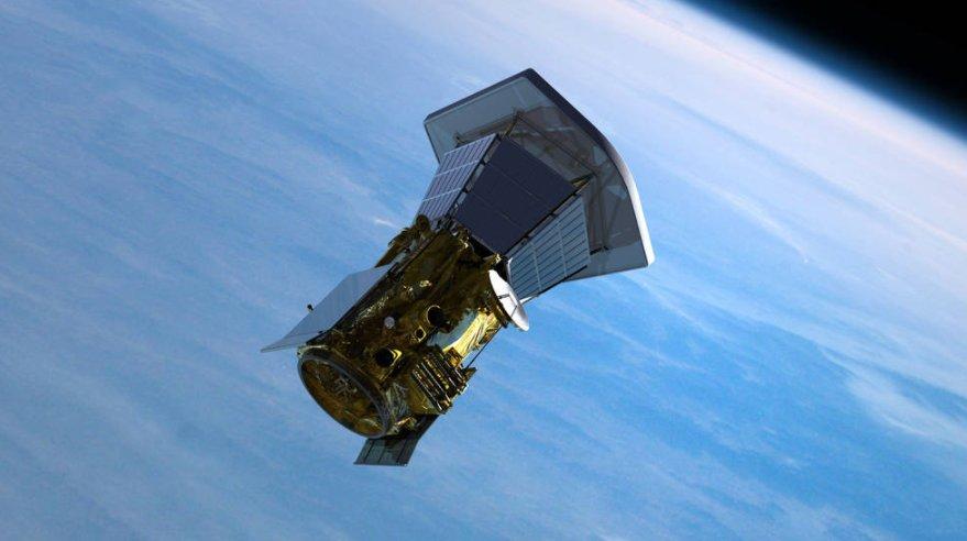 Representación de la sonda saliendo de la Tierra después de separarse de su vehículo de lanzamiento