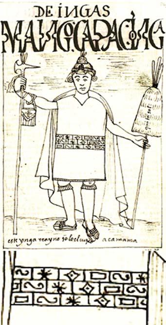 """Manco Cápac, ilustración de la """"Nueva crónica"""" de Felipe Huamán Poma de Ayala y detalle de los símbolos que decoran las ropas del rey inca."""
