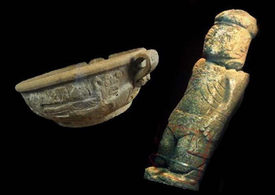 Fuente Magna (izquierda) y Monolito de Pokotia (derecha).