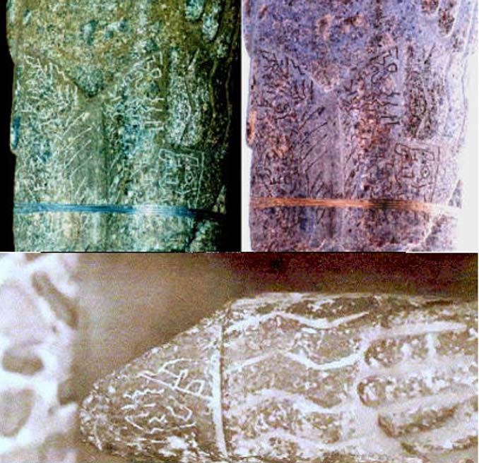 Arriba: Inscripciones en las piernas del Monolito de Pokotia. Abajo: Detalle de las inscripciones sobre la mano izquierda del Monolito de Pokotia.
