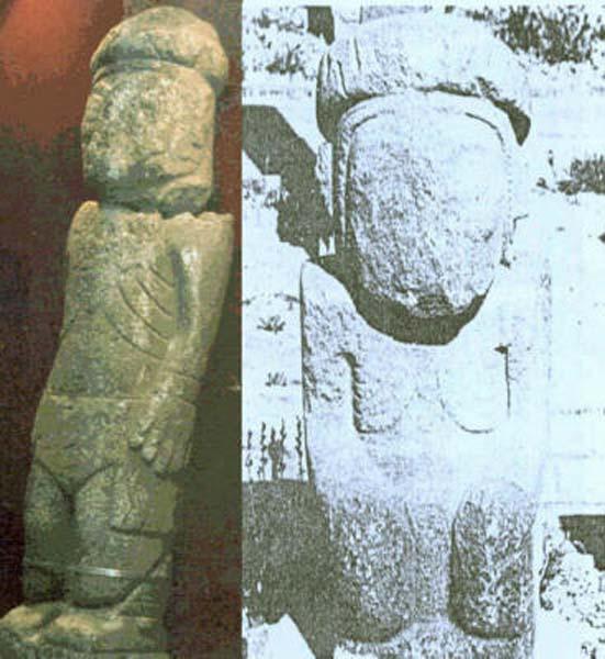 Comparación entre el Monolito de Pokotia y una de las estatuas de Tiahuanaco.