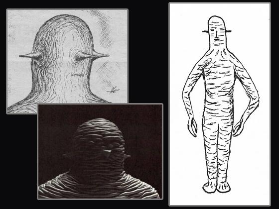A la derecha, una representación de los seres que abducieron a Charlie y a Calvin hecha por Jim Flynt, un compañero de trabajo del astillero Walker. A la izquierda arriba, una representación posterior de la cabeza de estos seres. A la izquierda abajo, una representación de la piel de estos seres.