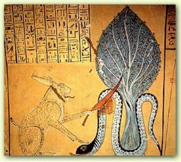 Ra en forma de felino decapitando a la serpiente en Apophis, Tumba de Inherkha, 1160 a.C, Thebes.