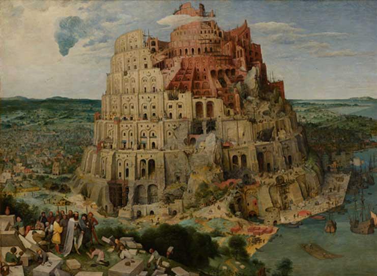 La Torre de Babel en un óleo de Pieter Brueghel el Viejo (1563)