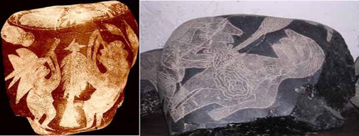 A la izquierda, hombres mirando a través de un telescopio o reloj de arena. A la derecha aparece el grabado parece representar un procedimiento quirúrgico de algún tipo.
