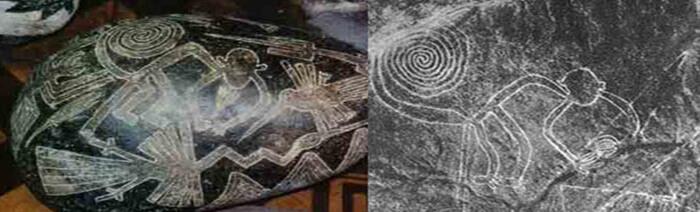 A la derecha hay un geoglifo de Nazca, casi idéntico al símbolo que está presente en una piedra de Ica a la izquierda.