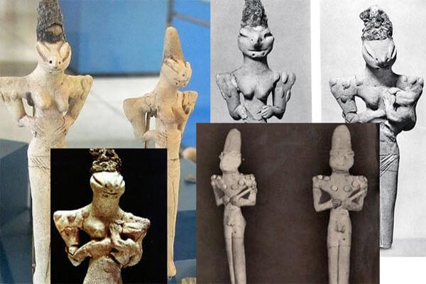 Estatuillas con clara forma reptil de la cultura Ubaid