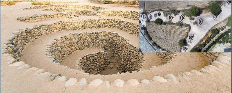Puquios: Acueductos subterráneos para traer agua al desierto. Fueron construidos por los mismos «arquitectos» de las líneas de Nasca en 540 d.C.