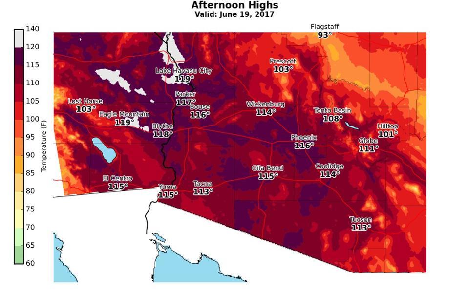 Las temperaturas en el sudoeste de Estados Unidos el día 19 de junio (2017)