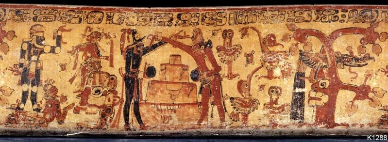 Recuerdos del pasado /Antiguas civilizaciones - Página 8 Hunahpu-e-Ixbalanque-bajan-a-Xibalba-en-el-jugo-de-pelota-con-los-dioses.