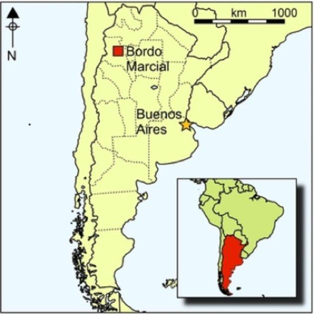 Situación geográfica del yacimiento de Bordo Marcial en la zona de la Quebrada de Humahuaca, noroeste de Argentina, Andes meridionales.