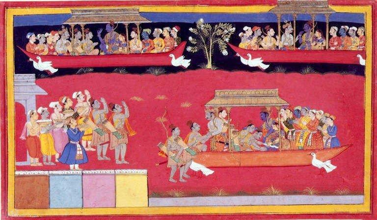 Rama regresa a Ayodhya y es vitoreado por sus súbditos. En esta antigua ilustración del Ramayana aparece el Pushpaka Vimana en tres ocasiones: dos en pleno vuelo (arriba) y otra después de haber aterrizado, más abajo a la derecha.