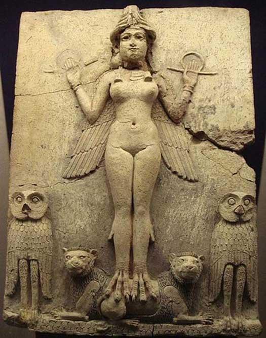"""Relieve de la """"Reina de la Noche"""", una figura considerada por lo general como uno de los aspectos de la diosa Ishtar (la Inanna sumeria), diosa mesopotámica del amor sexual y de la guerra."""
