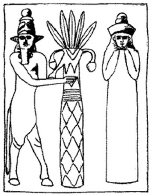 Reproducción de un sello mesopotámico que representa al dios sumerio Enlil y a su esposa, la diosa Ninlil.
