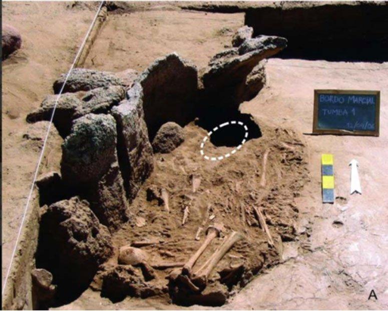 La tumba de Bordo Marcial albergaba los restos de 14 individuos junto con la máscara, colocada sobre los huesos (la posición de la máscara está indicada por la línea blanca discontinua)