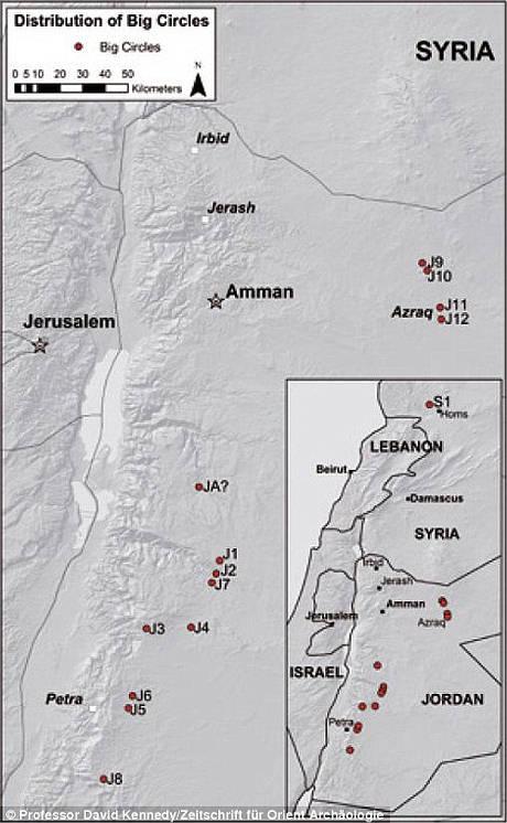 El mapa muestra la ubicación de cada uno de los 12 Grandes Círculos de Jordania registrados hasta ahora, además de otro gran círculo descubierto en Siria.