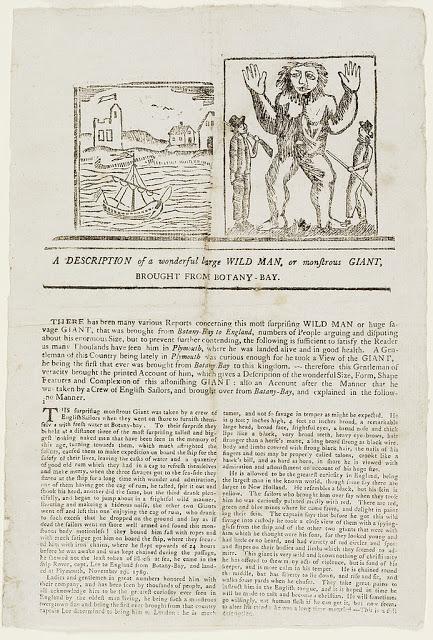 Noticia del siglo XVIII sobre un supuesto gigante capturado en Australia
