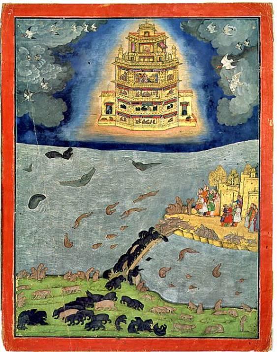 El resplandeciente Pushpaka Vimana, principal vimana del Ramayana, surcando los cielos por encima del Océano Índico. A la derecha se puede observar la isla de Lanka, hoy Sri Lanka, unida por un puente al subcontinente Indio (abajo)